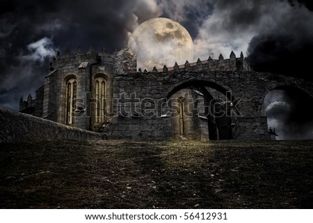 Color medieval halloween scenery with moon and medieval european abbey - stock photo