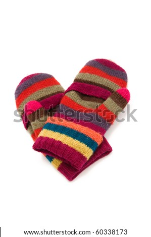 Color mittens, pair - stock photo