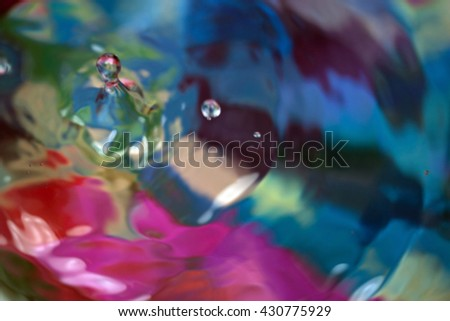 Color motion drop in water, abstraction blurred