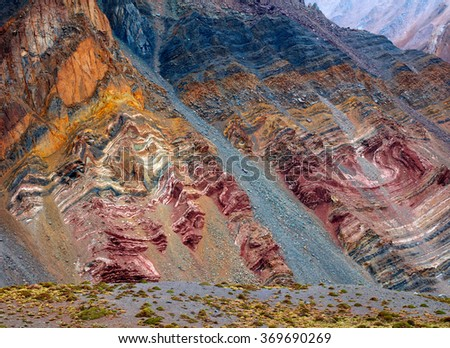 Color mountains in Aconcagua national park. Andes, Argentina - stock photo