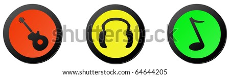 Color music icons - stock photo