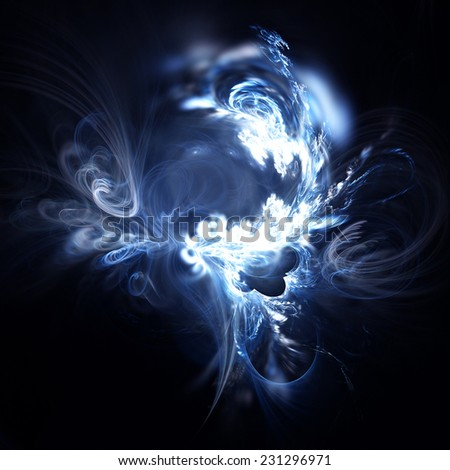 Color mystic smoke. Abstract blue on black artistic background with lighting effect. Fractal art - stock photo