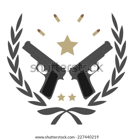 Color, no outline,  logo isolated on white with 2 pistols, bullets and stars in laurel wreath frame  - stock photo