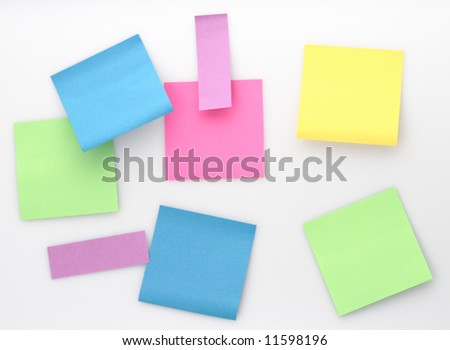 color note square blank paper white background