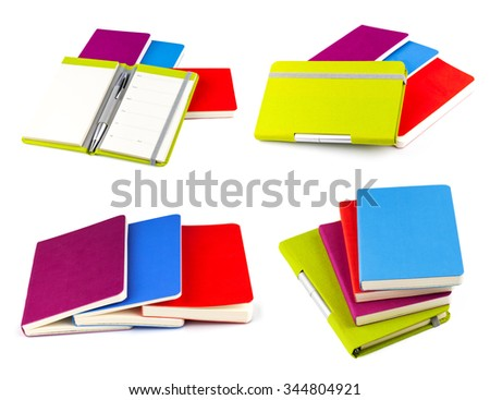 Color notebook isolated on white background, set - stock photo