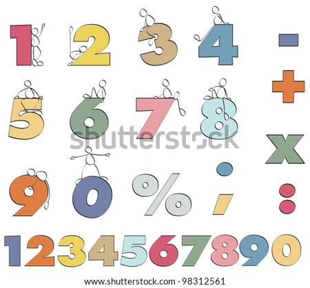 color numbers 1 to 9 for mathematics - stock photo