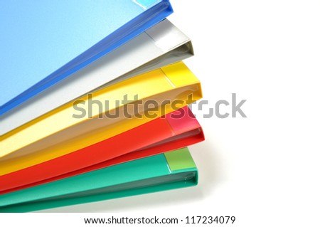 Color of folders isolated on white background - stock photo