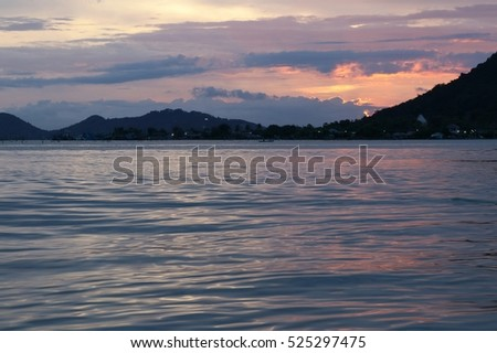 color of sky and water on sunset