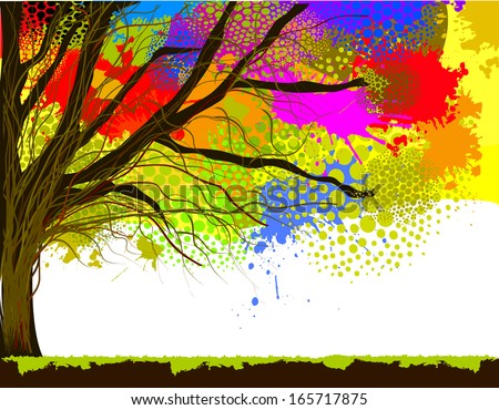 color of tree stain watercolor.. Raster - stock photo