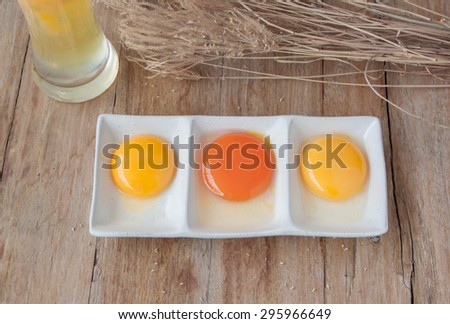 color of yolk on white plate,raw eggs - stock photo