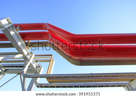 color oil pipe in a petrochemical plant, closeup of photo