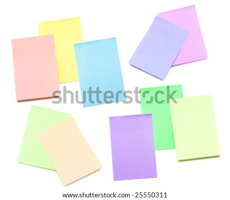 color pages of notebook on white - stock photo