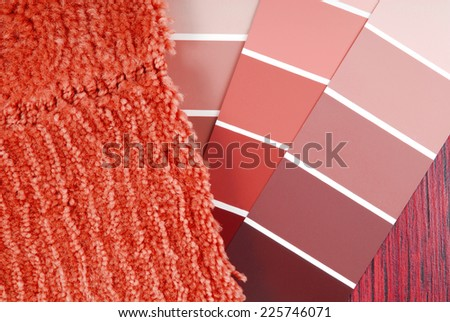 color paint  and carpet choicefor interior - stock photo