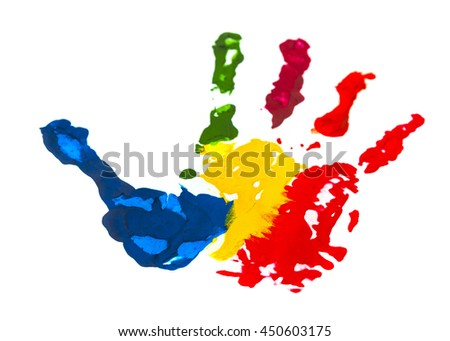 Color paint hand print on white background