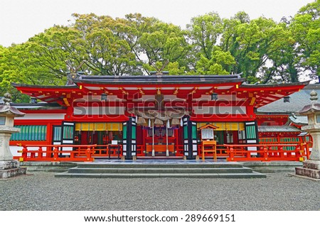 Color Painting Ancient Sacred Kumano Hayatama Taisha Shinto Religion Shrine in Shingu, Japan on Sandstone Texture