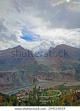 Color Painting Dramatic Clouds over Scenic Landscape Hunza Valley, Pakistan in Autumn on Canvas Texture  - stock photo