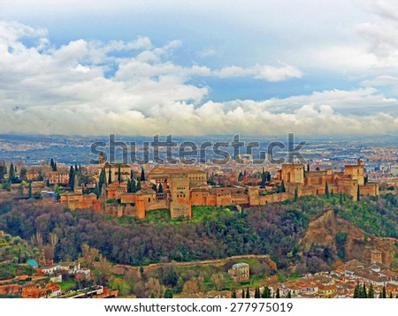 Color Painting Scenic View City of Granada, Spain on Sandstone Texture