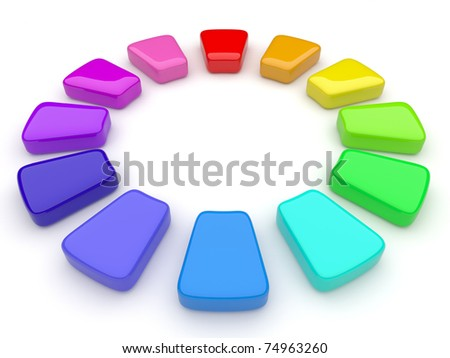 Color palette in the form of a circle. 3d - stock photo