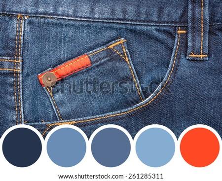 Color Palette Of Blue Denim Jeans Pocket - stock photo