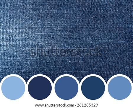 Color Palette Of Blue Denim Jeans Texture - stock photo