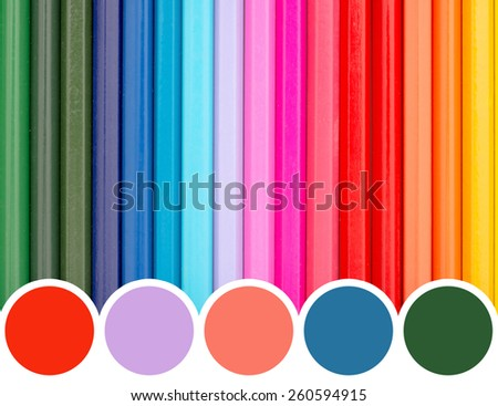 Color Palette Of Coloring Crayons Abstract - stock photo