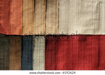Color palette sample picker of textile fabrics - stock photo