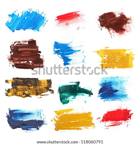 color palette, set grunge brush strokes oil paint isolated on white background, with clipping path