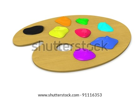 color palette with paint - stock photo
