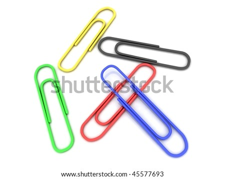 Color paper clips for a paper