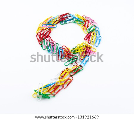 Color paper clips of Arabic numerals