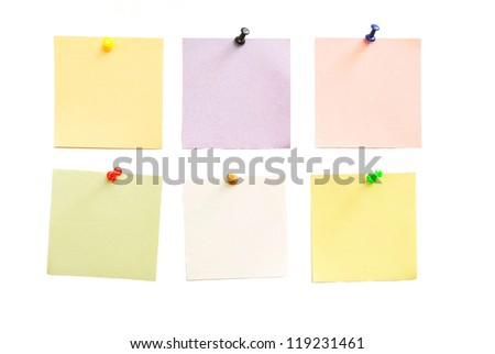 Color paper for notes on a white background
