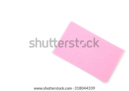 Color paper name card isolated on white background