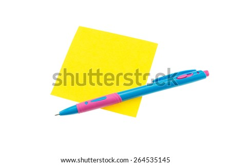 Color paper note and pen on isolated white background - stock photo