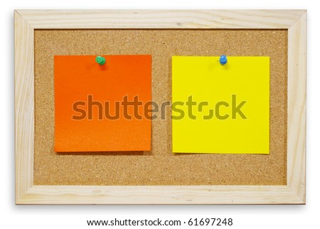 Color paper on cork board isolated for text and background - stock photo