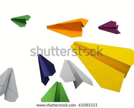 Color paper planes - stock photo