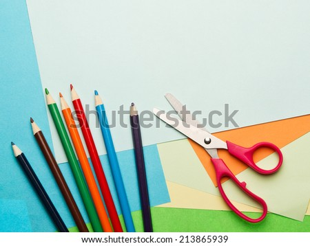 Color paper,scissors and color pencils - stock photo