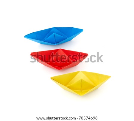 color Paper ships isolated on white background - stock photo