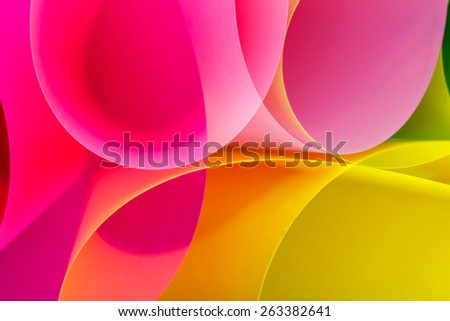 Color paper variety arc wave form. Multi exposure. - stock photo