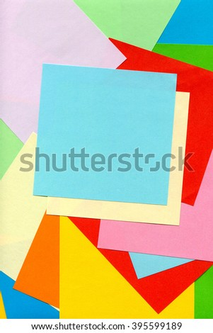Color papers geometry flat composition background with red, blue, orange, green, pink, yellow, rose pink.