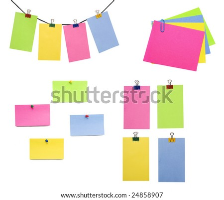 color papers notes over white