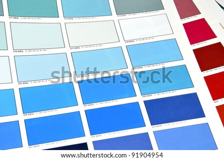 Color patches printed by offset system on a book of colors - stock photo