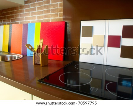 Color pattern in a sales room of kitchens - stock photo