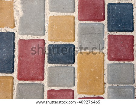color paving slabs extending - stock photo