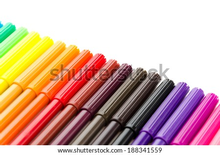 Color pen isolated on white background