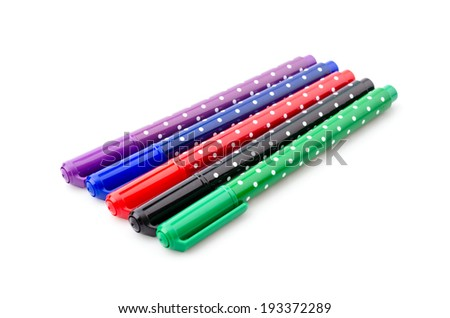 Color pen isolated white background