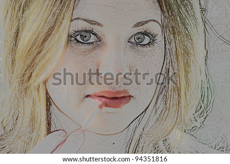 Color pencil drawing takes lifelike form as lip gloss is added by the same drawing - stock photo