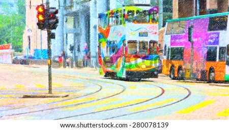 Color pencil illustration of urban transport in Hong Kong - stock photo
