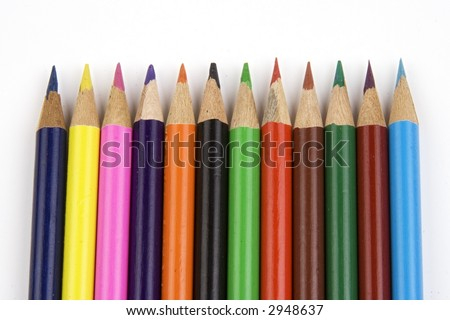 Color pencil lined up in a row. - stock photo