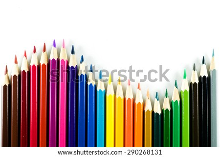 Color pencil on paper background - stock photo