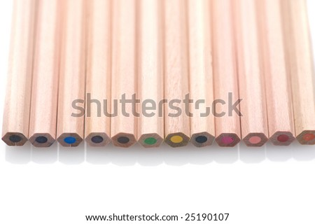 color pencil on white background - stock photo